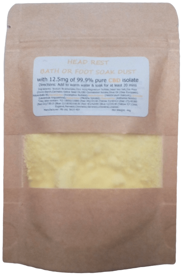 Head Rest Essential Oil Aromatherapy Fizzy Dust Soak with 12.5mg CBD
